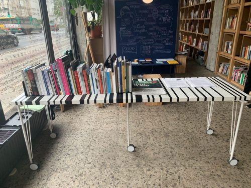 ADJACENT : RomaMoMA Nomadic Library display at Vulnerable Archives, SAVVY Contemporary